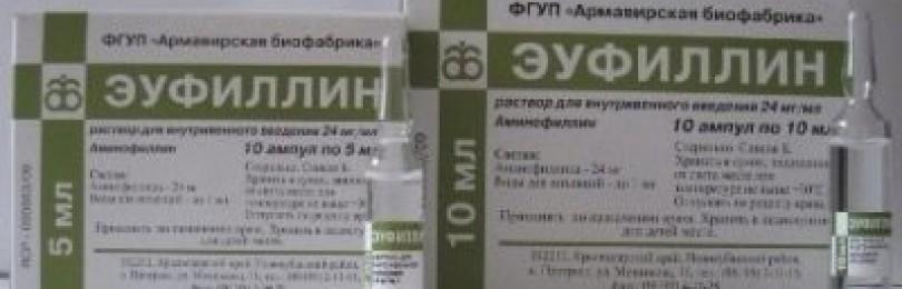 Эуфиллин (таблетки, ампулы)