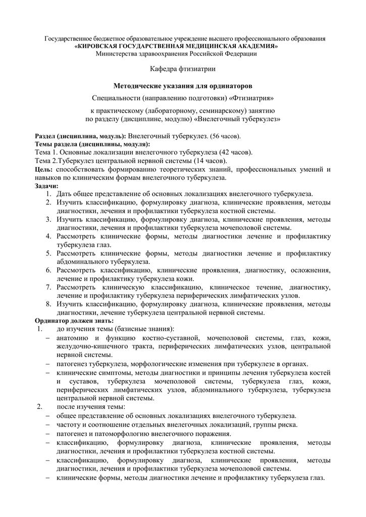 Классификация клинических форм туберкулеза