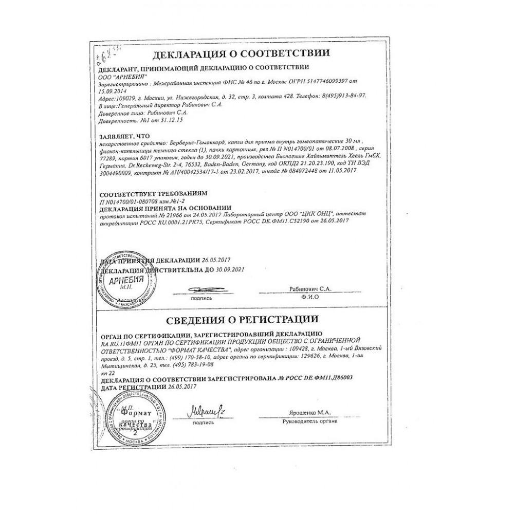 Берберис-гомаккорд - описание и инструкция по применению