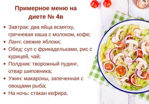 Диета Стол Номер 4а. Диета стол №4 при заболеваниях кишечника: что можно и нельзя кушать, меню на неделю