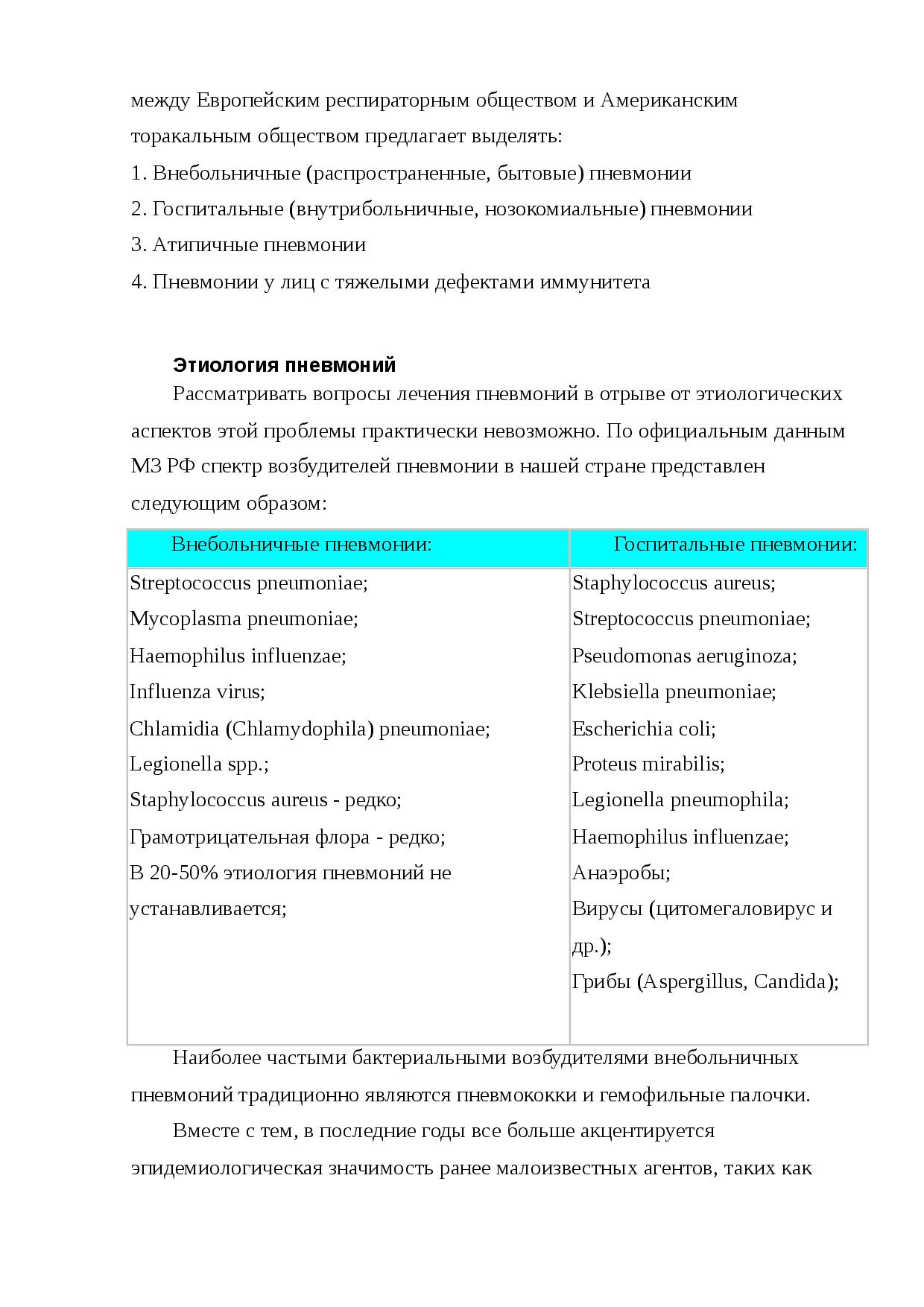 Как лечится внутрибольничная пневмония
