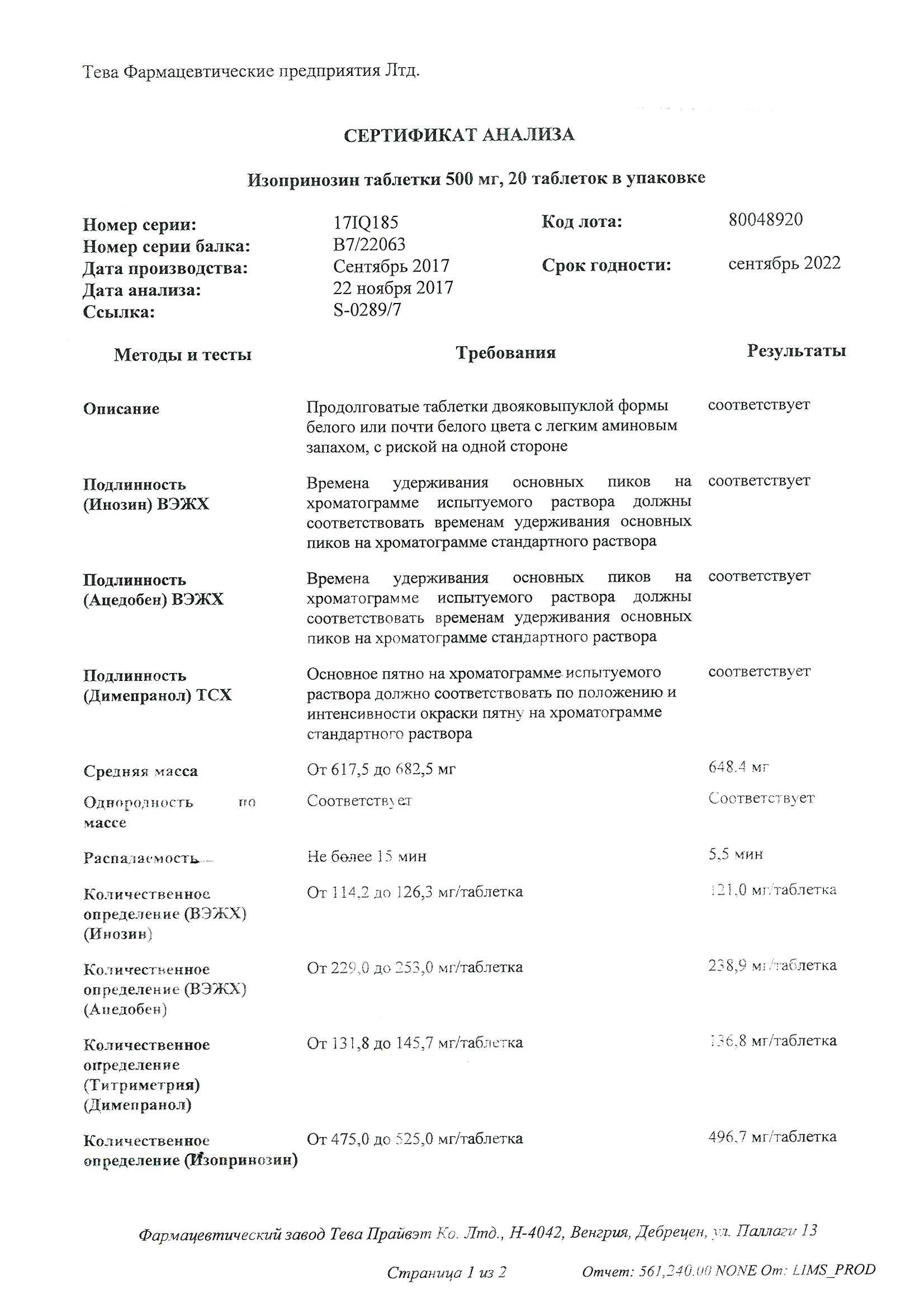 Изопринозин: инструкция по применению, показания, отзывы и аналоги