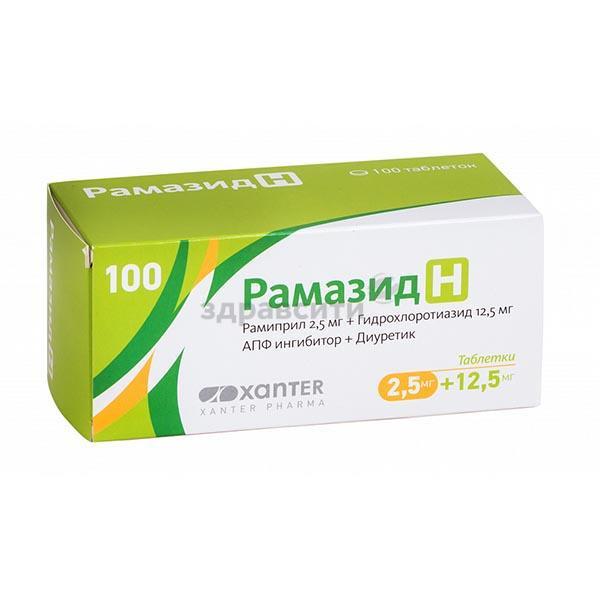 Рамиприл: таблетки 2,5 мг, 5 мг, 10 мг