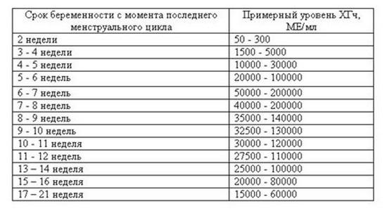 Таблица расшифровки результатов анализа хгч