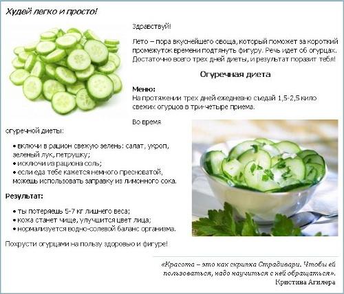 Кефирно-огуречная диета для похудения за 3 дня