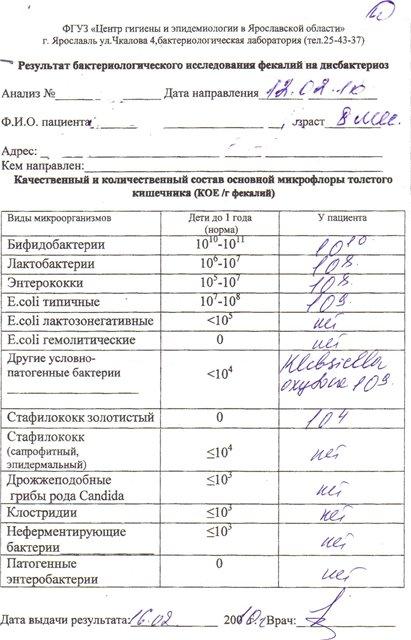 Bakterin-forte - запись пользователя лёля с ромашкой (olgmas) в сообществе здоровье новорожденных в категории анализы - babyblog.ru
