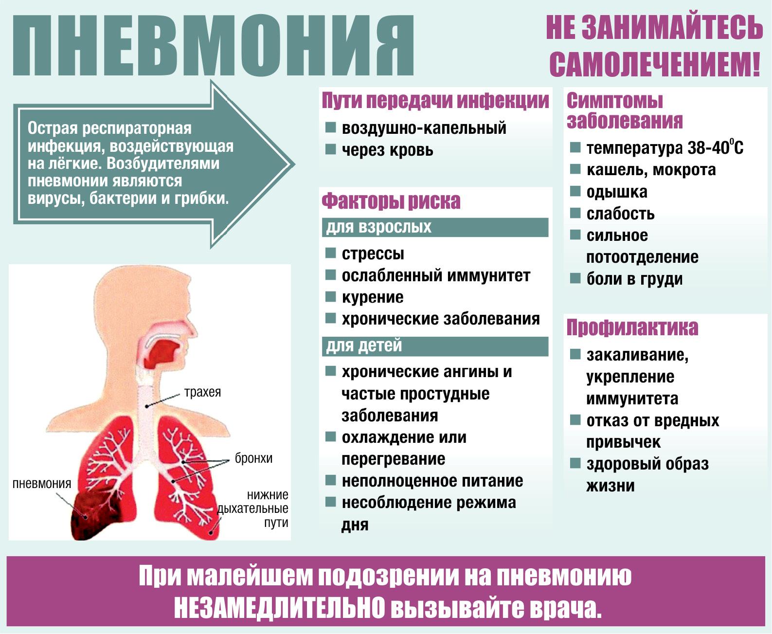 Воспаление легких – симптомы и первые признаки, как проявляется пневмония