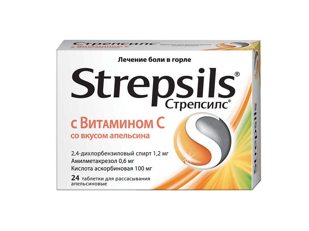 Стрепсилс с витамином c (таблетки, 24 шт)