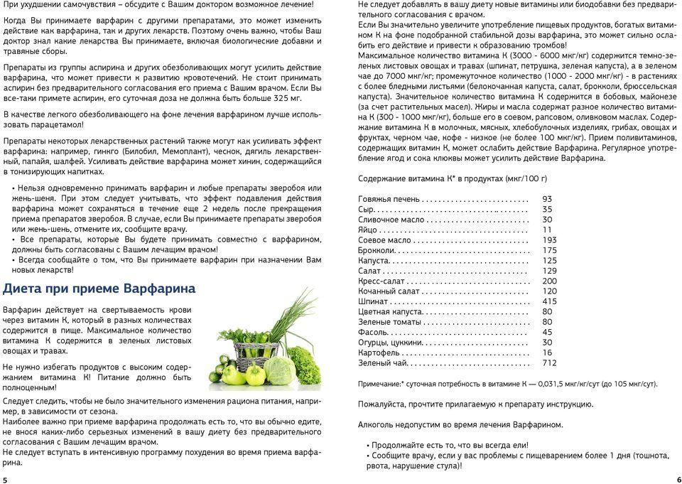 Диета при приеме варфарина: свойства препарата, правила питания, ограничения в приеме пищи, составление меню