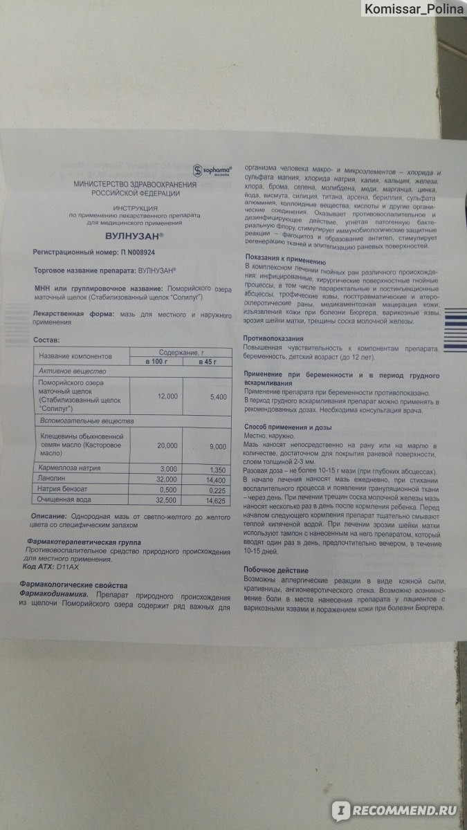 Вулнузан: инструкция по применению, аналоги, цена, отзывы