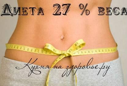 Отзывы диета 27 процентов веса. диета 27 процентов веса