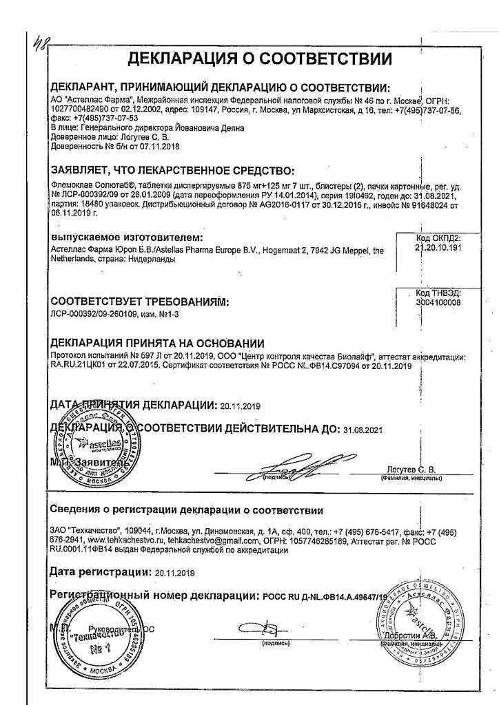 Флемоклав солютаб (250, 500 мг): инструкция, отзывы, аналоги
