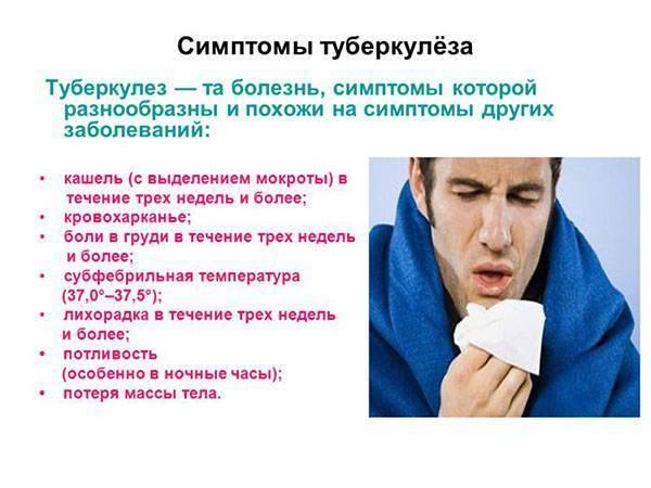Как обнаружить туберкулез симптомы первые признаки.