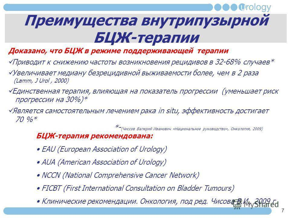 Лечение рака мочевого пузыря. бцж терапия• русский доктор