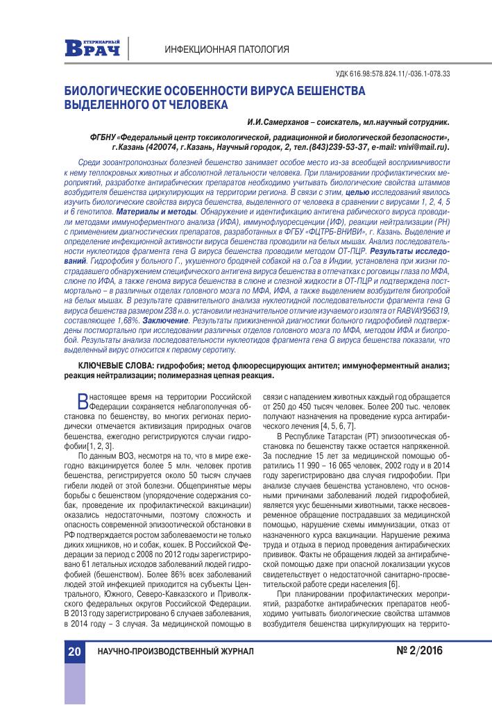 Вирус бешенства: характеристика, инфекция и её течение, диагностика, лечение