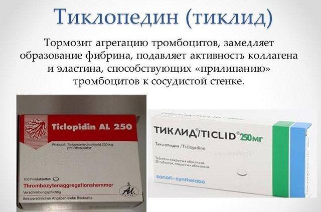 Сильнодействующее средство при тромбозах - тиклид